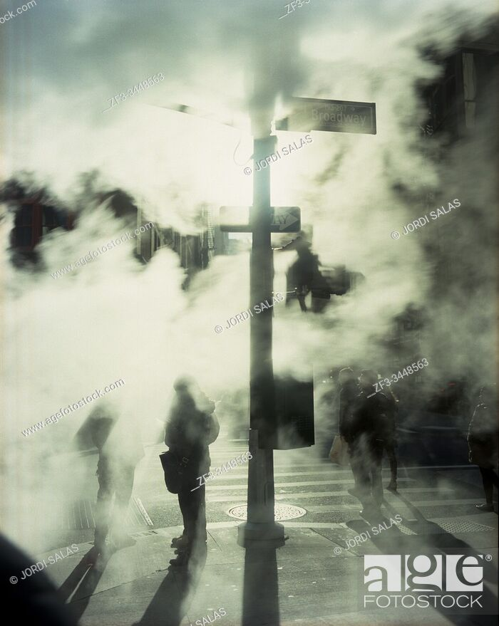 Stock Photo: Shadows through the smoke in the finantial district, New York City.