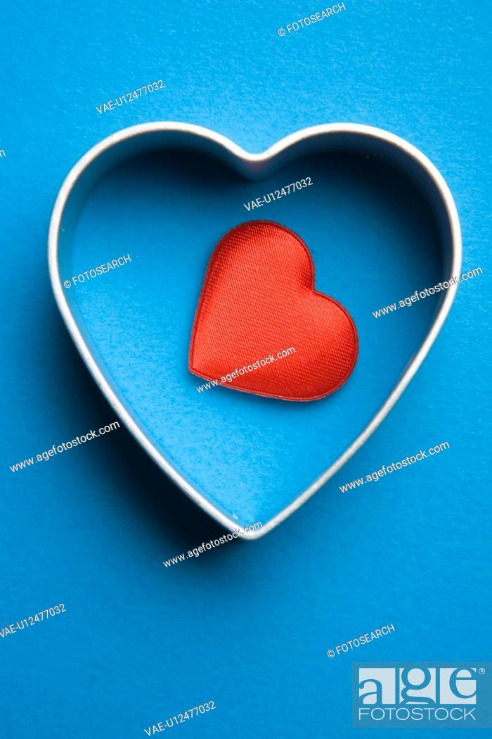 Stock Photo: Close-Up, Colored Background, Heart Shape, Indoors, Metal.
