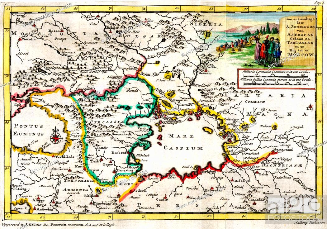 18th century map of Astracan, Tartary, Moscow, Caspian Sea ...