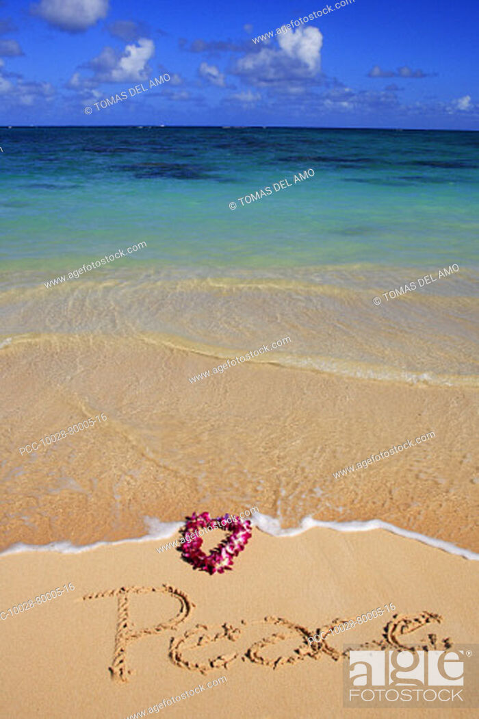 Stock Photo: Hawaii, Turquoise ocean waters, foaming shore water, orchid lei, Peace written in sand.