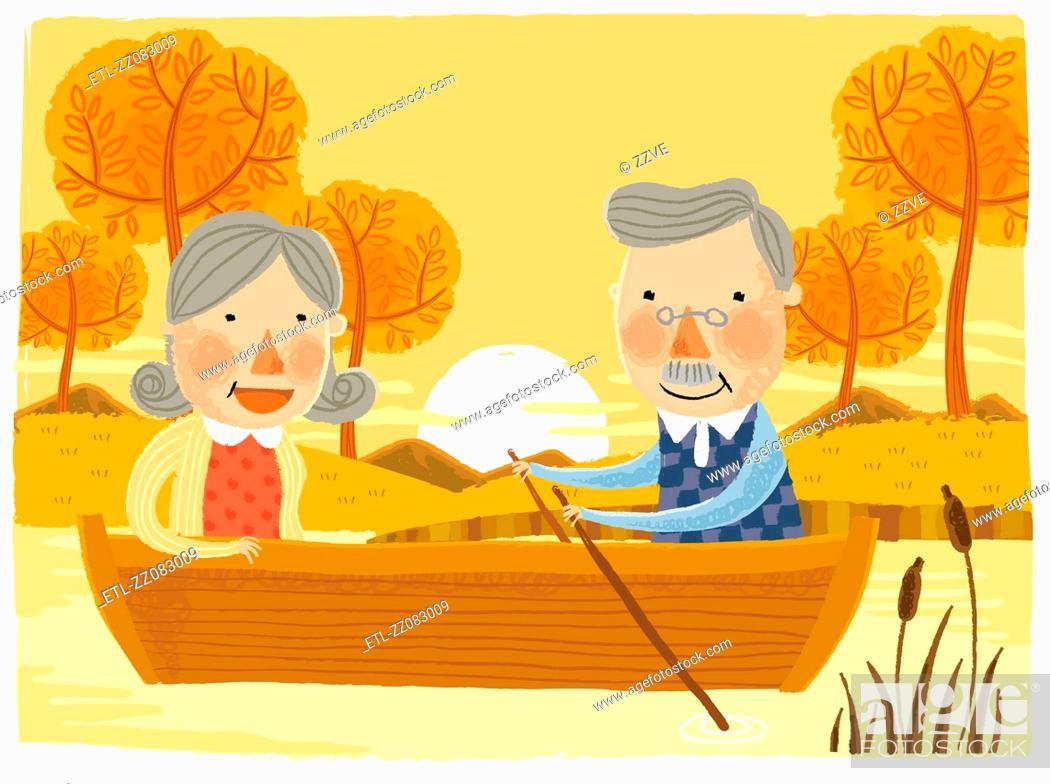 Stock Photo: Elderly couple sailing Boat.