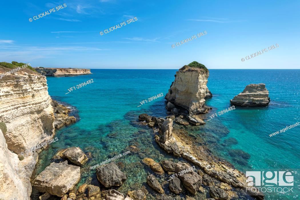 Stock Photo: Melendugno, province of Lecce, Salento, Apulia, Italy. The Faraglioni in Torre Sant'Andrea.