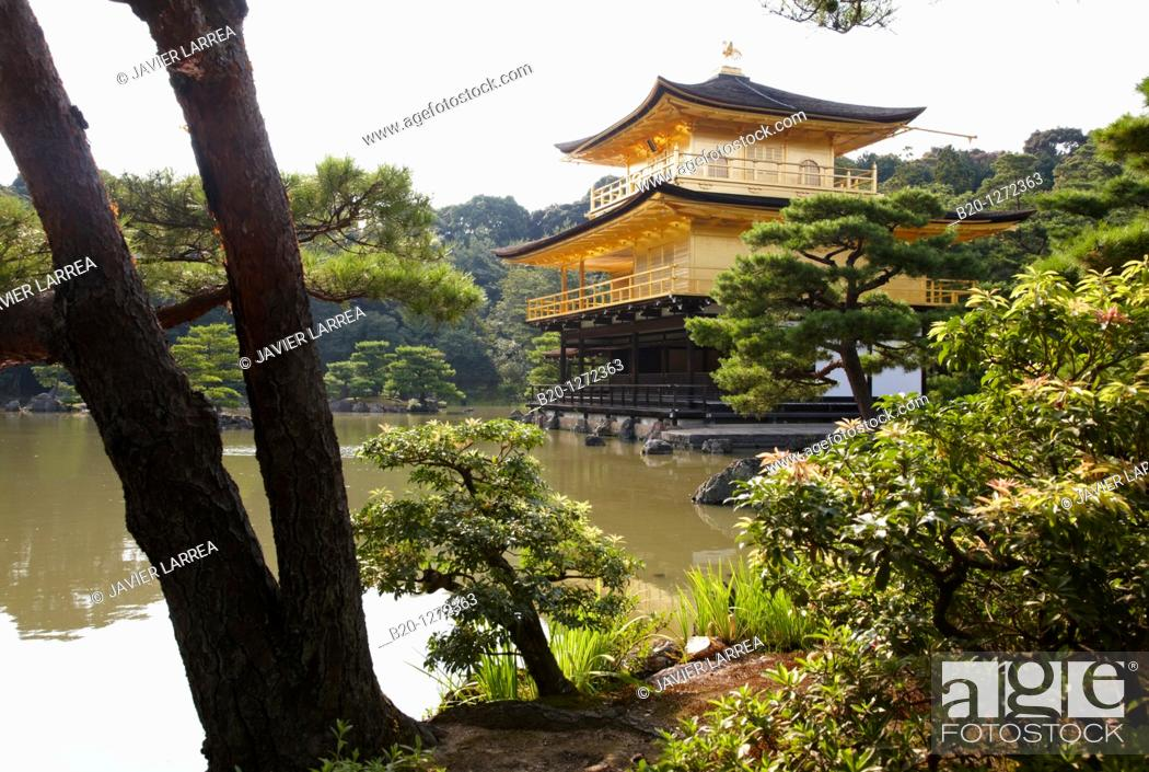 Photo de stock: Kinkakuji Temple, The Golden Pavilion, Rokuon-ji temple, Kyoto, Japan.