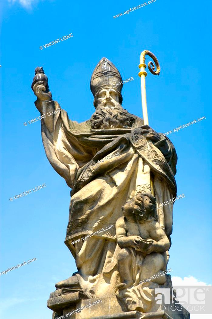 Stock Photo: Czech Republic - Prague - Mala Strana Prague 1 District - Charles Bridge Karluv Most - Statue.