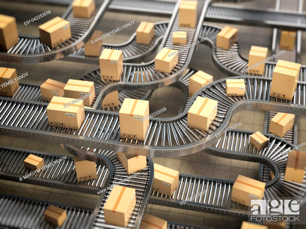 Stock Photo: Cardboard boxes on conveyor roller in distribution warehouse, Delivery and packaging service concept background. 3d illustration.
