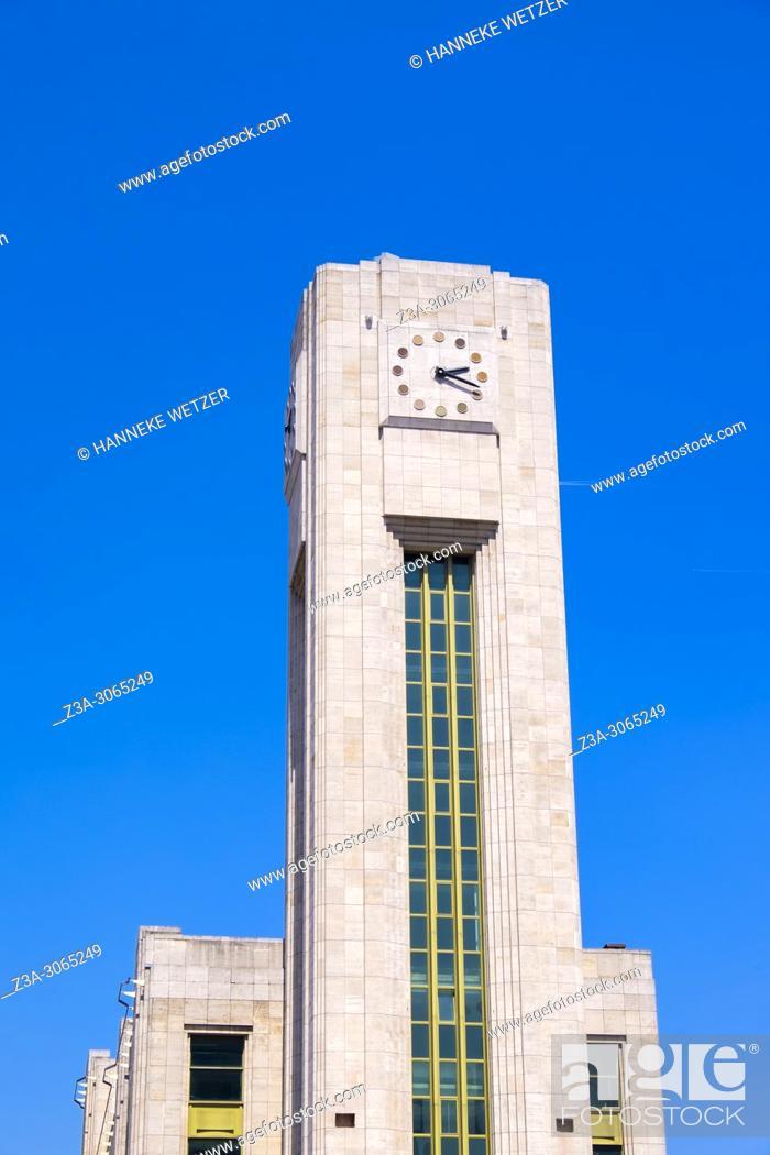 Stock Photo: Clock Tower of Gare du Nord, Brussels, Belgium, Europe.
