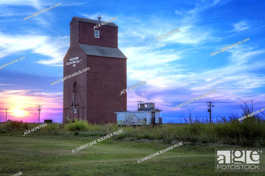 southern Saskatchewan, grain elevator, train tracks, sunset