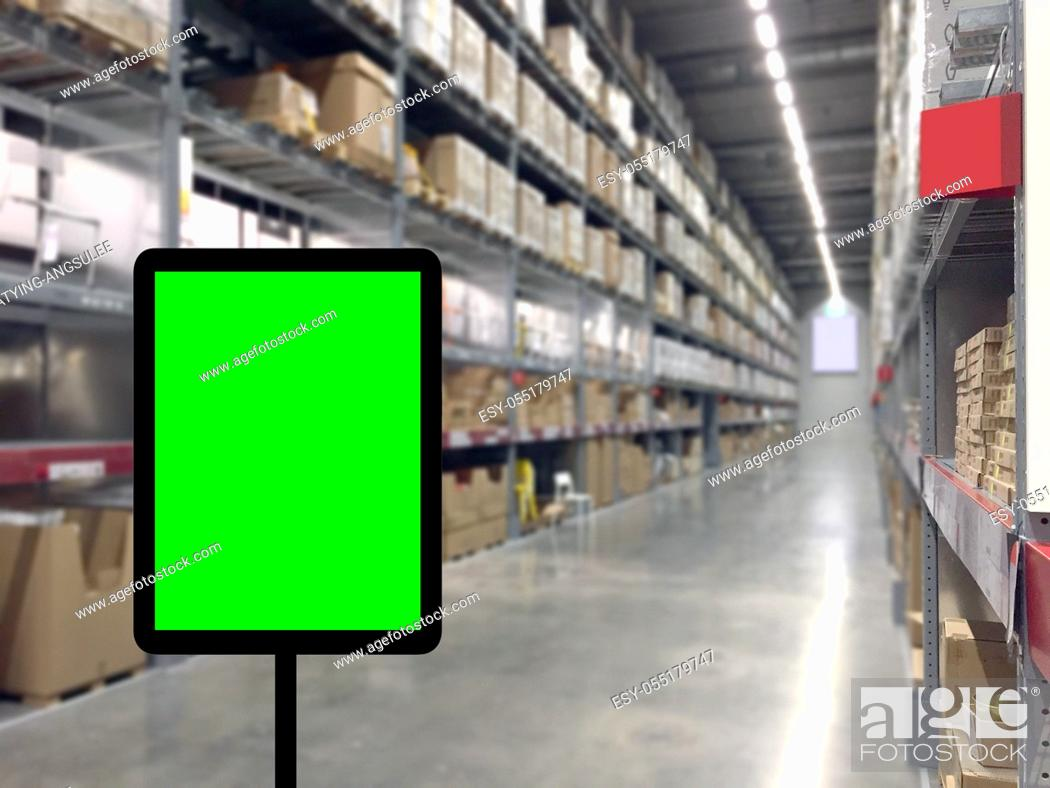 Stock Photo: Abstrast Blurred background : Warehouse cargo with digital monitor.