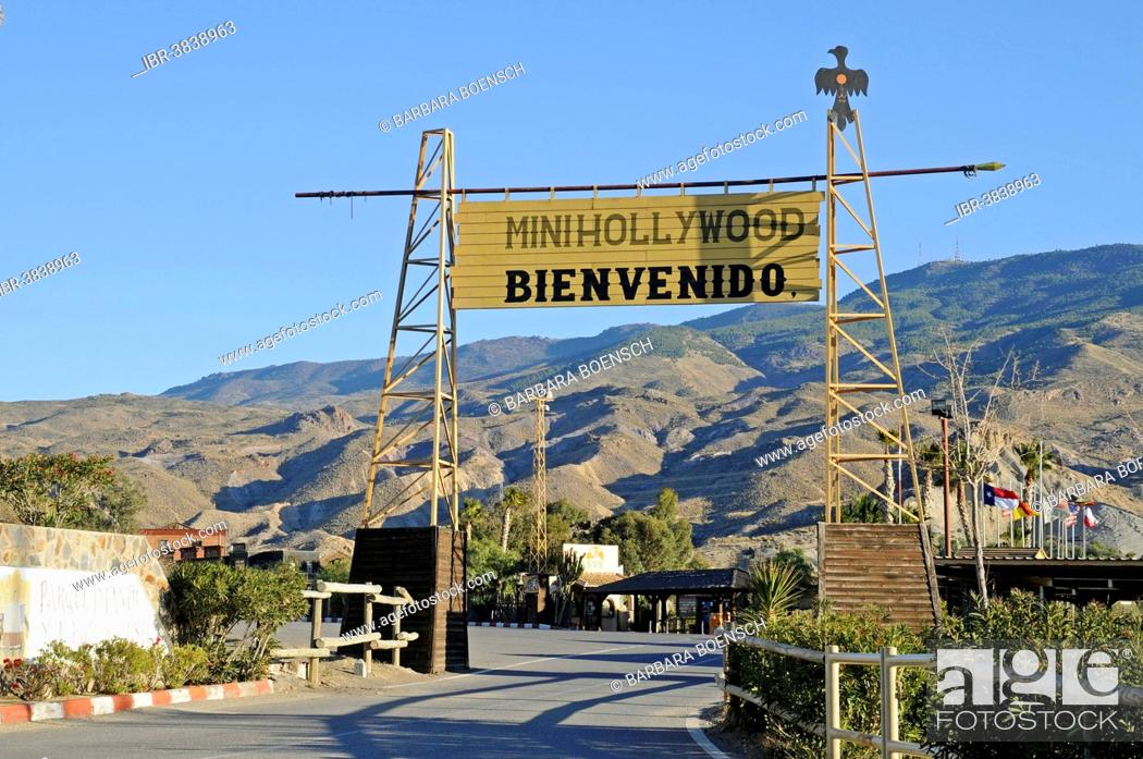 Stock Photo: Mini-Hollywood welcome sign, western town, Parque Oasys, Tabernas, Almeria province, Andalusia, Spain.