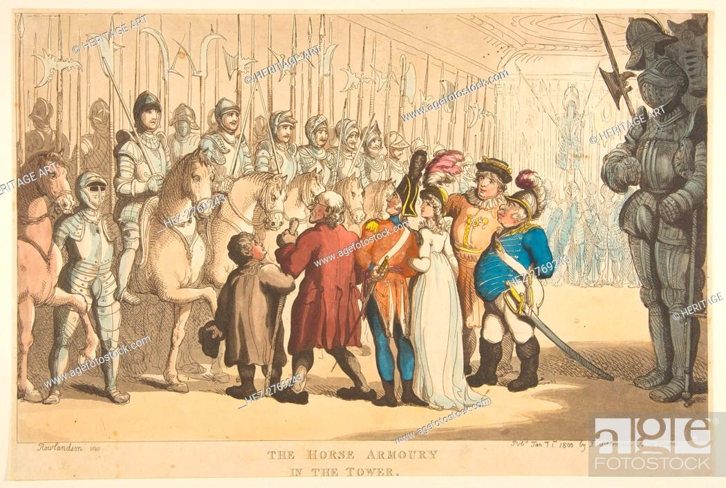 Stock Photo: The Horse Armoury in the Tower, January 1, 1800. Creator: Thomas Rowlandson.
