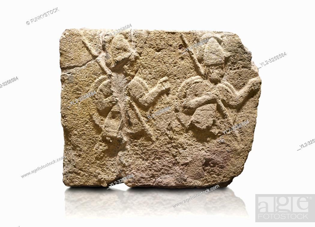 Stock Photo: Hittite relief sculpted orthostat stone panel of Long Wall Limestone, Karkamis, (Kargamis), Carchemish (Karkemish), 900-700 B.C.