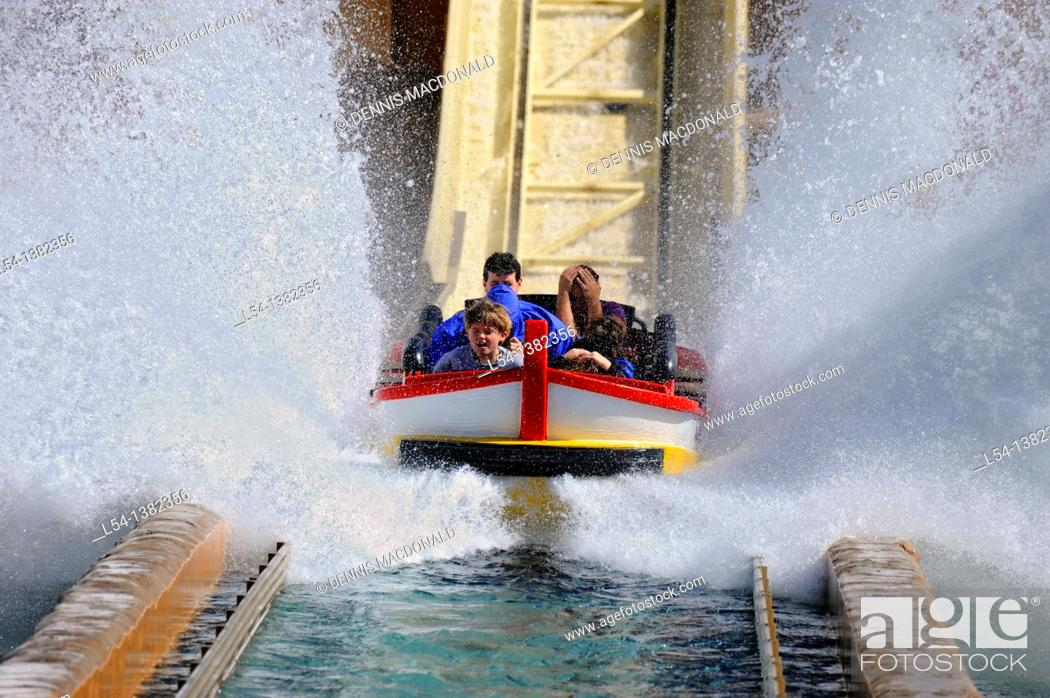 Stock Photo: Sea World Adventure Theme Park. Orlando. Florida. Journey to Atlantis rollder coaster boat ride.