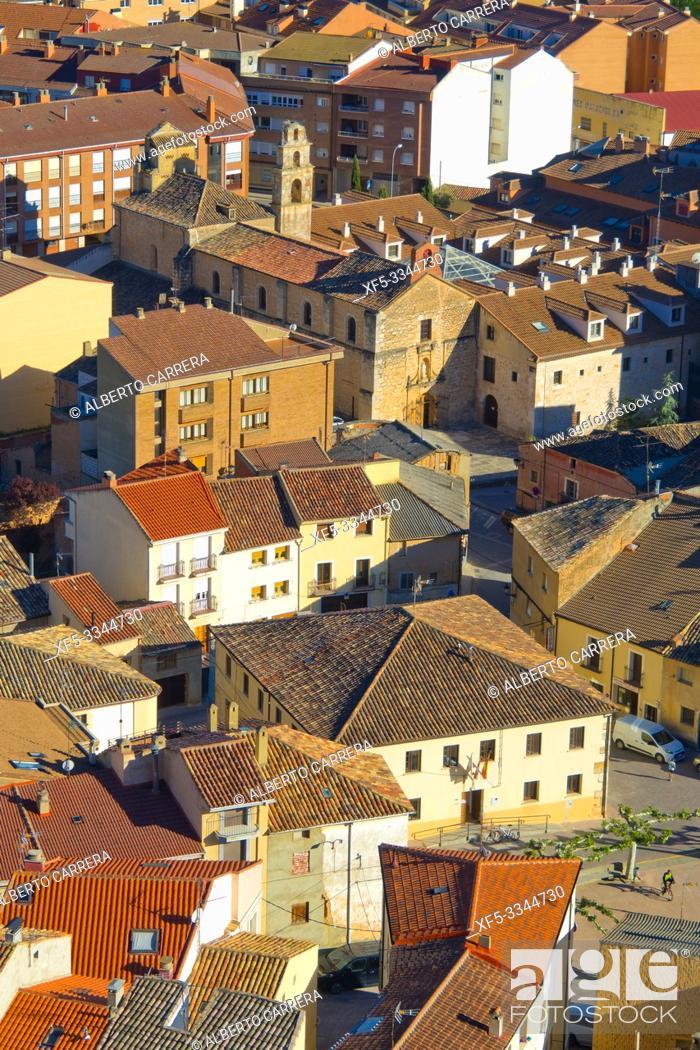 Stock Photo: Town View from Cave Traditional Wineries, San Esteban de Gormaz, Soria, Castilla y León, Spain, Europe.