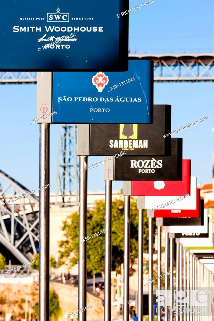Stock Photo: signs of Porto wine producers, Porto, Douro Province, Portugal.