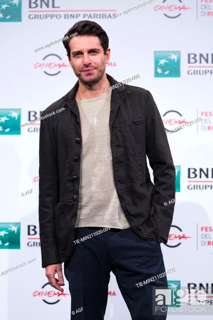 """Stock Photo: Giampaolo Morelli attend the photocall of the movie """"""""Maledetta Primavera"""""""" during the 15th Rome Film Festival on October 21, 2020 in Rome, Italy."""