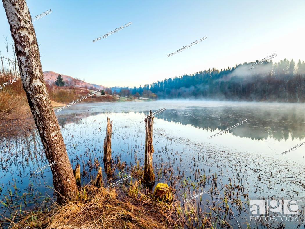 Stock Photo: Morning scenery Mrzla vodica lake in Croatia.