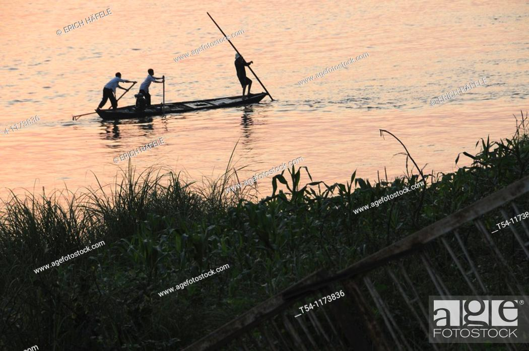 Stock Photo: Fisher on the Mekong.