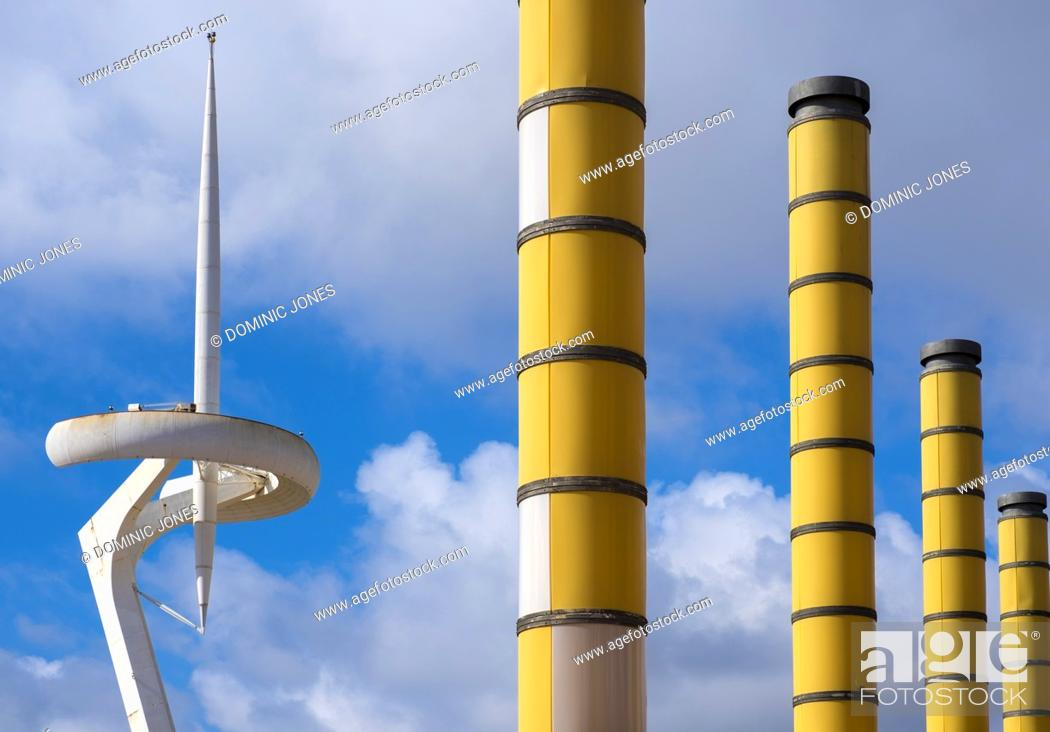 Stock Photo: The Montjuïc Communications Tower in the Olympic Park of Barcelona built to transmit broadcasts from the 1992 Olympic Games.