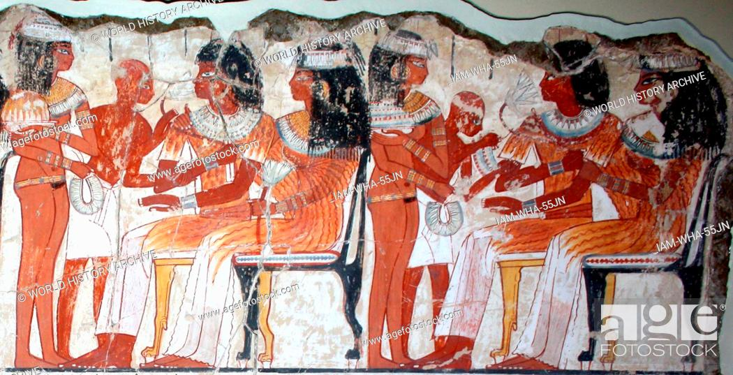 Stock Photo: A feast for Nebamun. An entire wall of the tomb-chapel showed a feast in honour of Nebamun. Naked serving girls and servants wait on his friends and relatives.