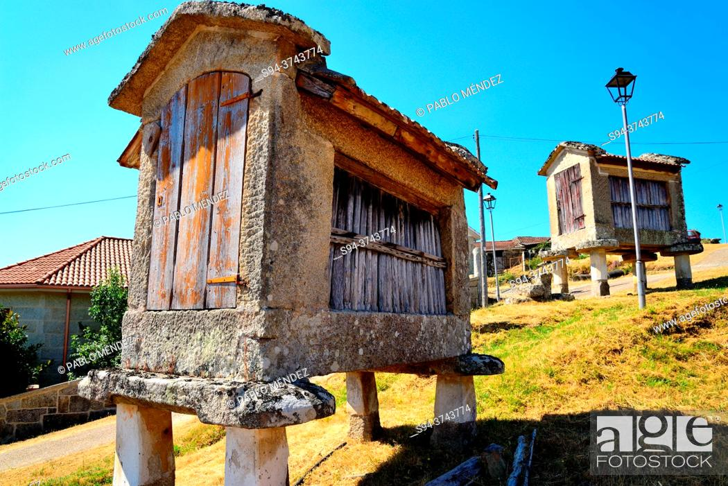 Stock Photo: Horreos or Raised Granaries in Quins, Melon, Orense, Spain.