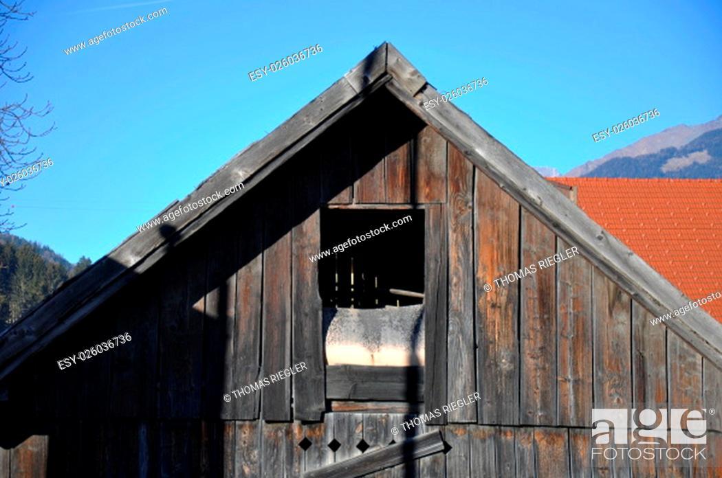 Stock Photo: farm buildings,farm,farming,cottage,log cabin,window,hatch.