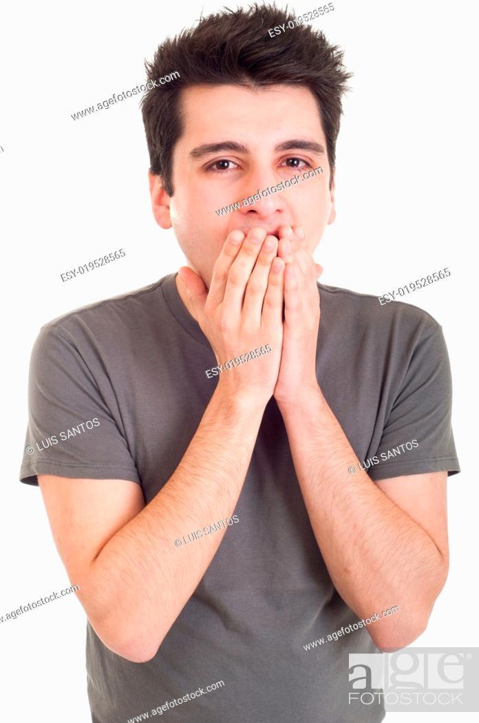 Stock Photo: Man yawning.