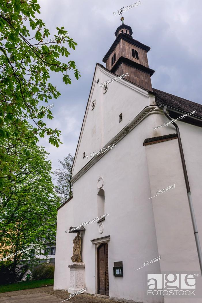 Stock Photo: Church of Saint Judoc in Frydek-Mistek city in the Moravian-Silesian Region of Czech Republic.