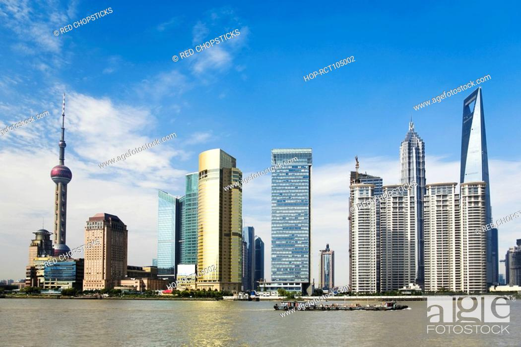 Stock Photo: Skyscrapers at the waterfront, Oriental Pearl Tower, Huangpu River, Lujiazui, The Bund, Shanghai, China.