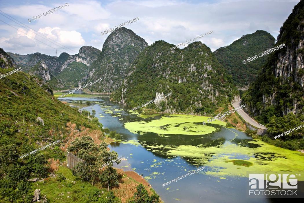 Stock Photo: Laguna, Longgong Dong area, Matou, Guizhou, China.