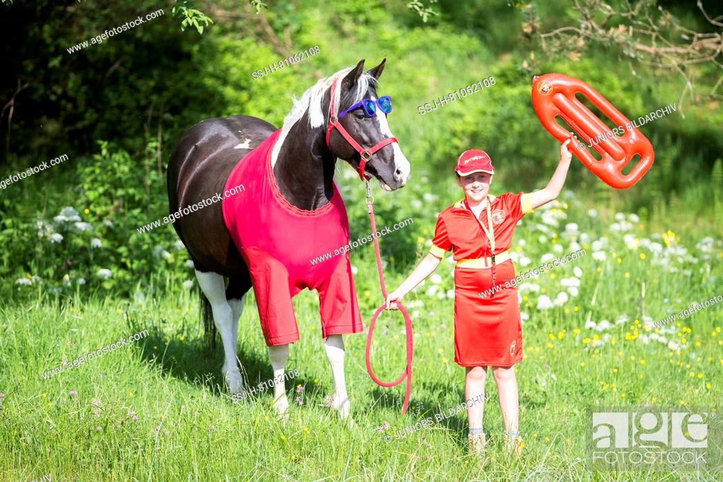 American Paint Horse Child And Horse In Lifeguard Costumes Baywatch Stock Photo Picture And Rights Managed Image Pic Ssj H 81062108 Agefotostock