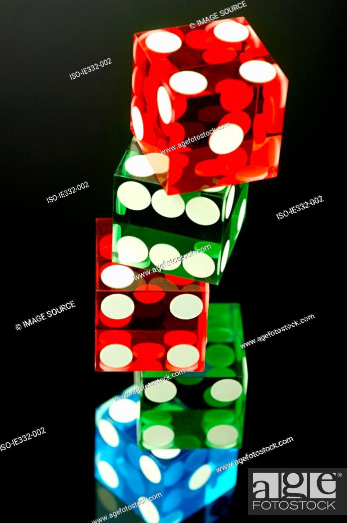 Stock Photo: Stacked dice.