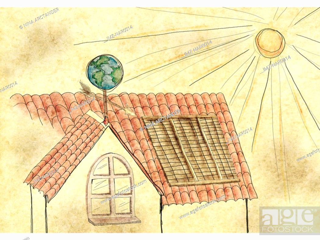 Stock Photo: A house collecting solar energy.