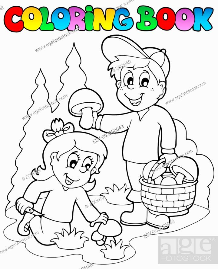 Stock Photo: Coloring book with kids mushrooming - thematic illustration.