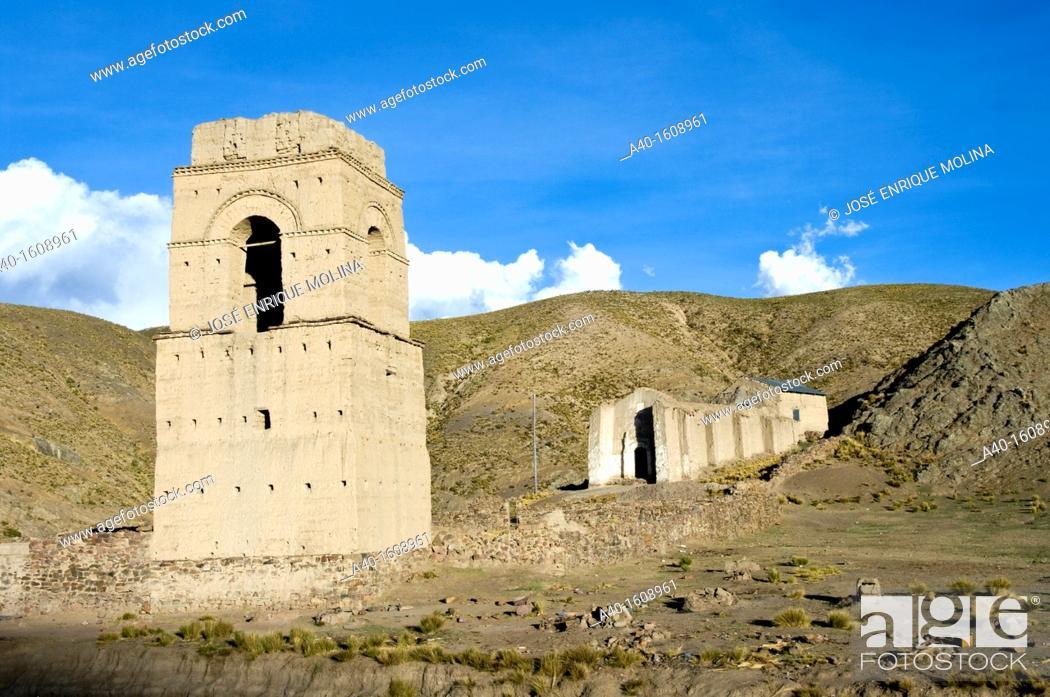 Stock Photo: Bolivia. Oruro department. Ancient colonial church in Lequepalca.