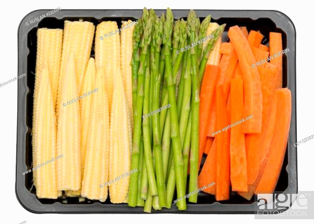Stock Photo: fresh vegetables in a plastic box.