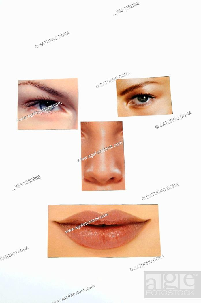 Stock Photo: collage of parts of woman face.