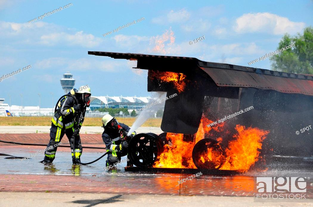 training, firefighting, fire brigade, mock-up airplane, airport rescue and firefighting  services, Stock Photo, Picture And Rights Managed Image. Pic. RDC-1257406 |  agefotostock