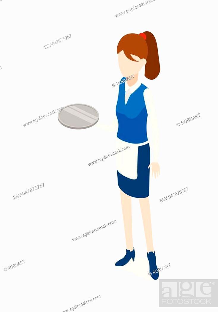Vecteur de stock: Waiter isolated. Woman in waiter uniform holding round metal grey tray. Full length portrait of standing waitress. Girl wearing blue skirt.