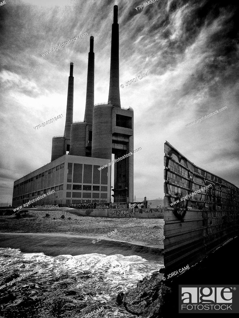 Stock Photo: Chimneys of the Thermal Power Station. Sant Adrià de Besòs . Barcelona, Catalonia. Spain.