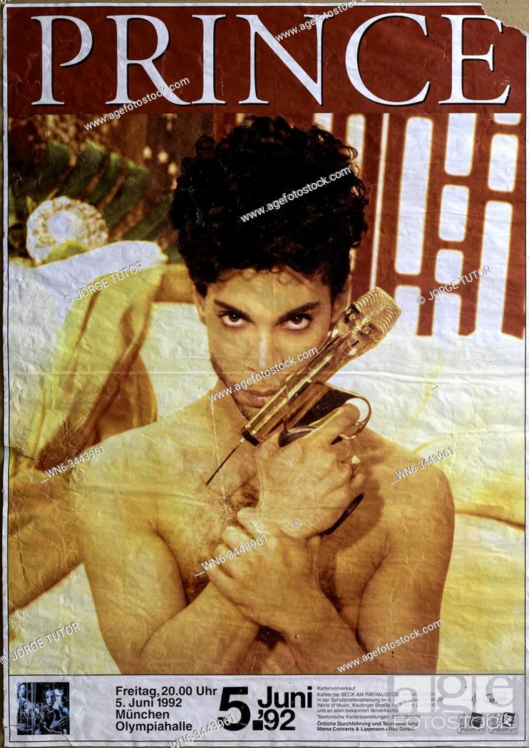 Stock Photo: Prince, Munich 1992 tour, Musical concert poster.