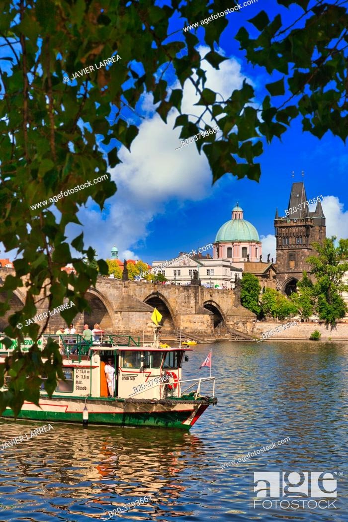 Stock Photo: Charles Bridge, Tourboats on Moldau river, Prague, Czech Republic, Europe.