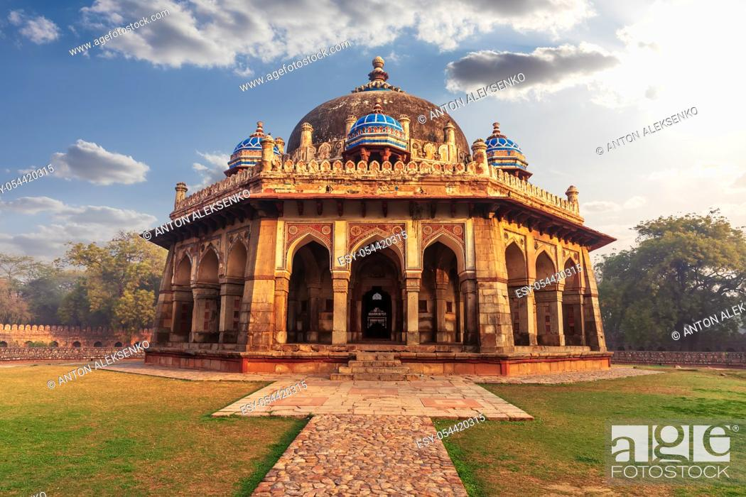 Stock Photo: Isa Khan Mausoleum in the Humayun's Tomb complex in Delhi, India.