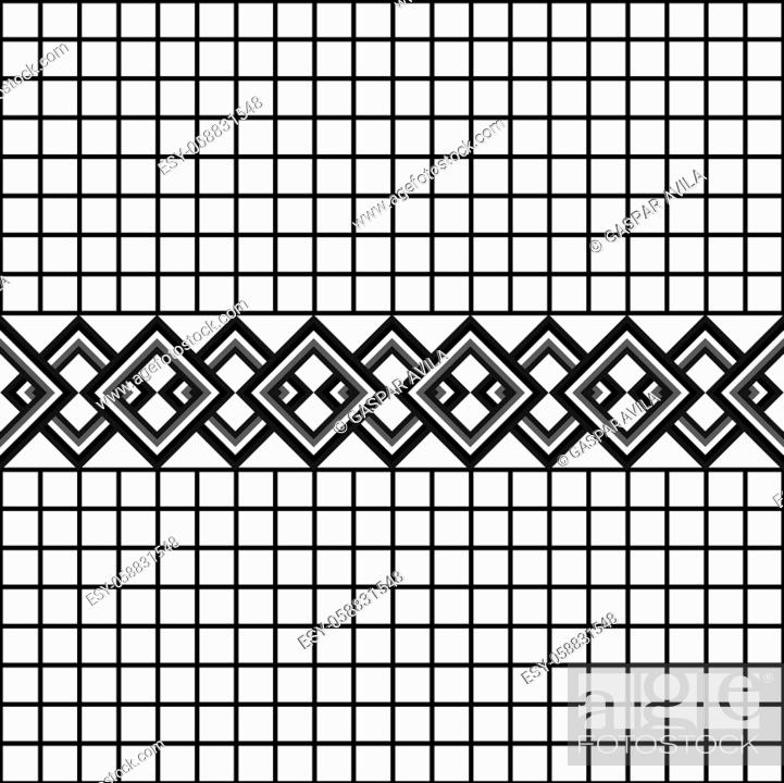 Stock Vector: Pattern of links on a grid background. Black and white graphic design.