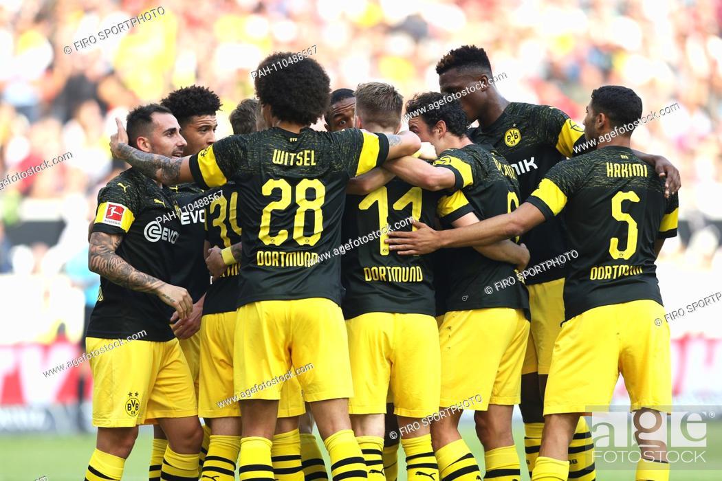 Stock Photo: firo: 20.10.2018 Football, Football: 1.Bundesliga VFB Stuttgart - Borussia Dortmund, BVB, Dortmund, Borussia Dortmund, jubilation to Marco REUS, with ALCACER.
