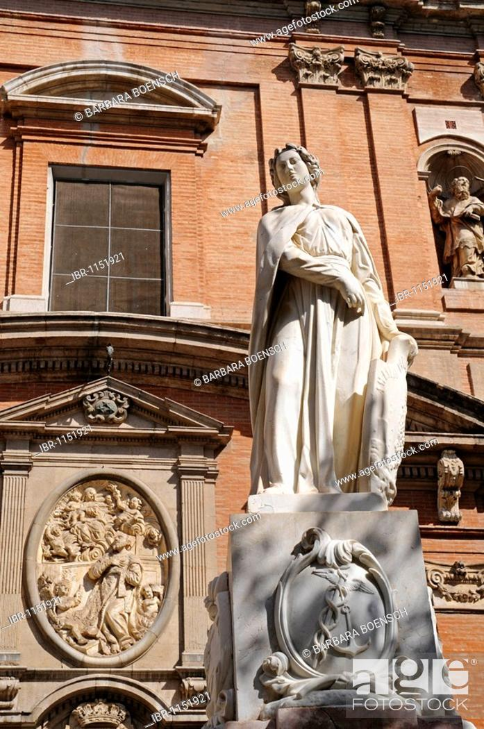 Stock Photo: Sculpture, facade, Santo Tomas y San Felipe Neri Church, Plaza de San Vicente Ferrer Square, Valencia, Spain, Europe.