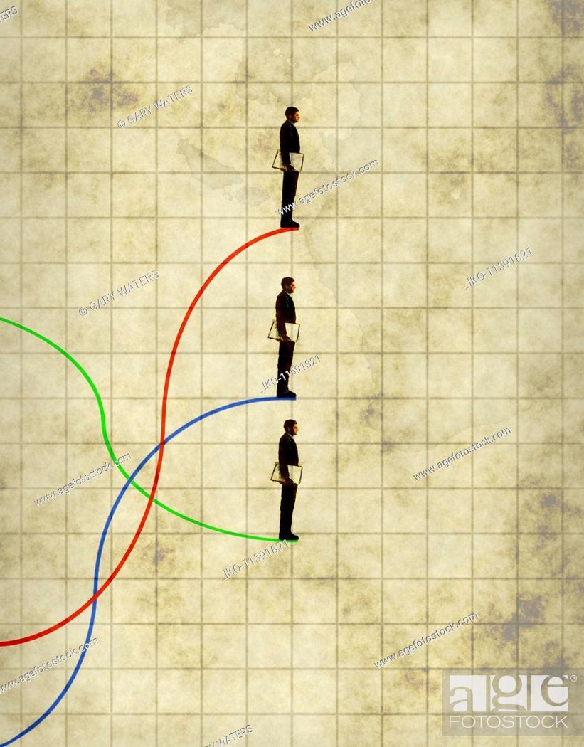 Stock Photo: Businessman on three different line graphs.