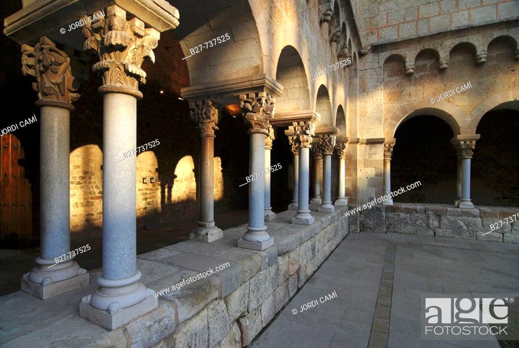 Stock Photo: Monastery cloister, Sant Cugat del Valles. Barcelona province, Catalonia, Spain.