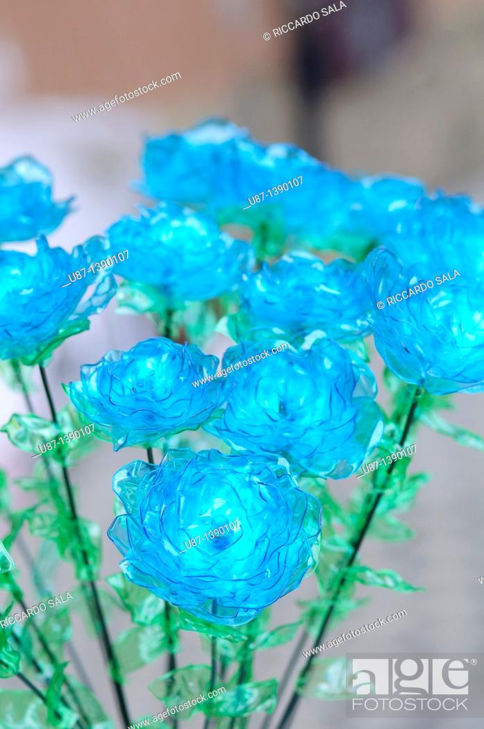 Stock Photo: Flowers Made From Plastic Bottles Recycled Platic.