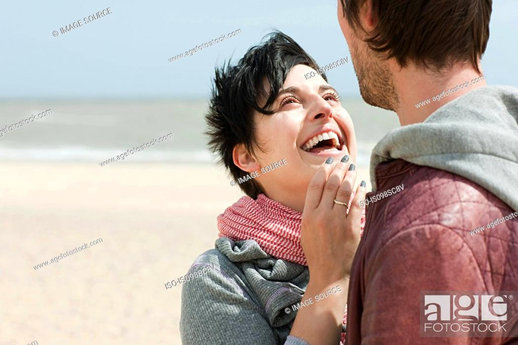 Stock Photo: Happy couple at the coast.
