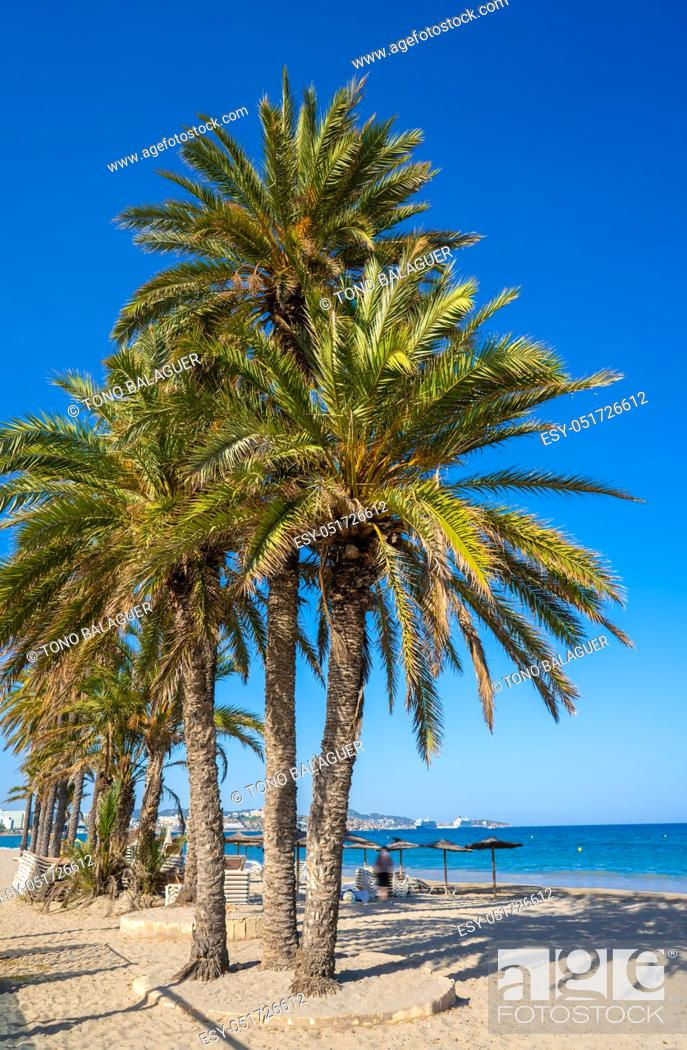 Stock Photo: Ibiza Playa d En Bossa beach in Sant Josep of Balearic Islands.